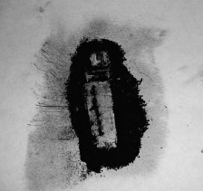 Chessie Gordon-Band / drawing of LIGHTER using burnt match powder